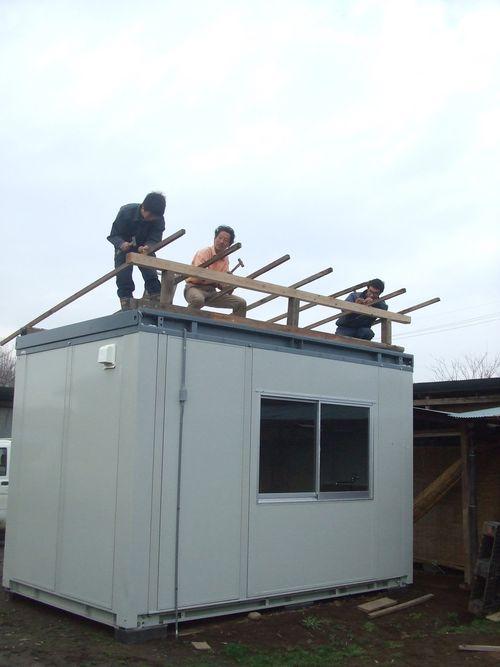 パン小屋の屋根作り